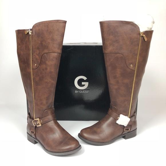 63e29abd1f9 G by GUESS Harson Wide-Calf Tall Boots Brown 6.5W NWT